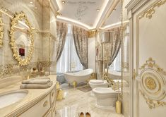 Classic bathroom design on Behance Bathroom Styling, Bathroom Interior Design, Classic Bathroom, Classic Interior, Corner Bathtub, Interior Architecture, Behance, Luxury, Furniture