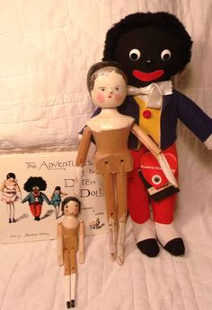 Collection of Dean's Golliwog, 2 Wood Peg Dolls, and Story Book