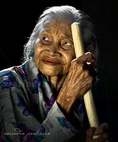 Taken in a remote village in West Java. A 100 year old woman...♥