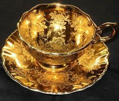 metal footed tea cups | OLD-FOLEY-GOLDEN-ROSE-ETCH-GOLD-WIDE-FOOTED-TEA-CUP-AND-SAUCER