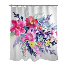 Floral Watercolor Vibrant Shower Curtain// Made to Order /Bath Curtain/Standard…