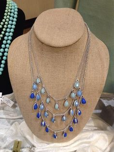 """Premier Designs """"PACIFIC"""" with its range of ocean colors is beautiful & practical for only $49.  The middle strand is removable and can be worn alone as a single strand of beads.  This is a real deal...2 necklaces for the price of 1!"""