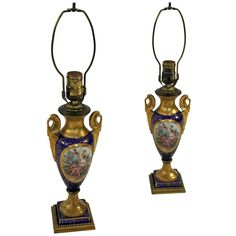 Sevres Style Porcelain Lamp Pair   From a unique collection of antique and modern table lamps at https://www.1stdibs.com/furniture/lighting/table-lamps/ $2400