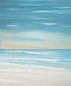 Beach seascape painting print Blue Coastal Ocean by FradetFineArt, $40.00 #OilPaintingSeascape #OilPaintingOcean