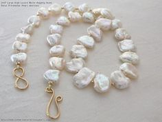 Large High Lustre White Nuggety Keshi Petal Freshwater Pearl Necklace