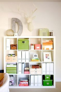 Various storage ideas for IKEA's Expedit bookshelves.