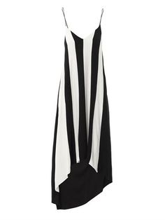 Sportmax's graphic monochrome dress is a bold answer to evening attire. An asymmetric hem, puddle train and highlighter stripes are used to dramatic effect -