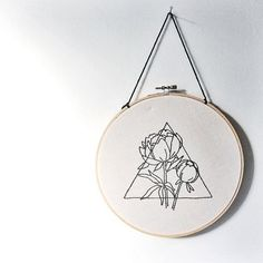Triangle and Peony Hand Embroidered Wall Art, Geometric, Floral, Prism, triangle, modern, home decor, embroidery, fiber art, gallery wall