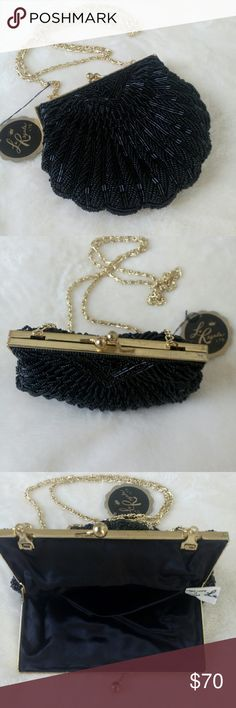 """Vintage La Regale Ltd Beaded Chain Bag NWT!! SALE! Host Pick  11/20/16  This beautiful vintage 1950's bugle beaded bag is shaped like a shell. Perfect lining looks like satin and has an open pocket. 6.5"""" across, 6"""" tall, .5"""" deep. Double S pattern gold chain. Notice the discoloration in pic 2. The tag is still attached. This was given as a gift from my mother's friend. Lots more pics, just ask! La Regale Ltd. Bags Mini Bags"""