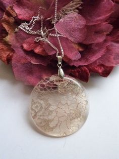 Handmade Vintage Lace Resin Necklace Pendant  by pinkneondesign