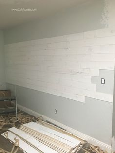 Have you heard of peel and stick shiplap! Love this real shiplap without the hassle of making and painting your own! wall How To Apply Peel and Stick Shiplap - Lolly Jane Peel And Stick Shiplap, Peel And Stick Floor, Flooring On Walls, Plank Walls, Wood Planks For Walls, Wood Walls, Stick On Wood Wall, Stick On Tiles, Faux Wood Wall