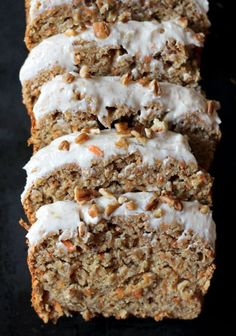 Carrot Cake Banana Bread with Thick Cinnamon Cream Cheese Frosting ~ An incredibly moist Carrot Cake Banana Bread made healthy with whole wheat flour and applesauce instead of lots of butter or oil. Don't forget the low-fat cream cheese frosting Carrot Banana Cake, Cinnamon Banana Bread, Healthy Carrot Cakes, Cinnamon Crunch, Apple Bread, Pumpkin Bread, Banana Bread Recipes, Cake Recipes, Dessert Recipes