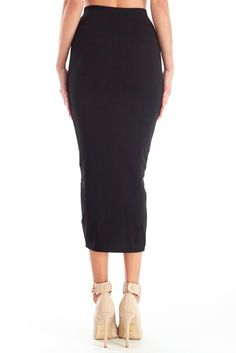 Length length on point.  Daphne Knit Midi Pencil Skirt