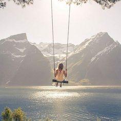 """Worlds Best Swing""  Hjørundfjorden, Norway"