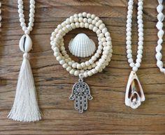 hamsa necklace or bracelet  cream beaded bohemian by beachcombershop