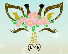 Giraffe Face with Flowers SVG Dxf Eps Pdf PNG Files for Cricut, Silhouette, Laser, Sublimation - Commercial Use Painted Pumpkins, Painted Rocks, Giraffe Colors, Giraffe Drawing, Safari Theme, Cricut Vinyl, Applique Designs, Cricut Design, Cool Gifts