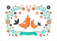 Scandinavian styled illustration print by ZÜ - Scandinavian Retro Art Art Wall Kids, Art For Kids, Scandinavian Folk Art, Scandinavian Pattern, Animal Posters, Art Et Illustration, Kids Prints, Retro Art, Screen Printing