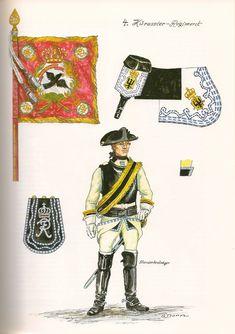 SYW- Prussia: Prussian 4th Cuirassier Regiment, Standard Bearer, 1756, by Günter Dorn.