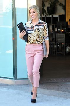 Mollie King - cute combo, pink skinnies and Aztec / Animal Print Combo top.