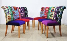 6 x Suzani dining chairs Colored Dining Chairs, Funky Chairs, Dining Room Chairs, Dining Table, Funky Furniture, Repurposed Furniture, Painted Furniture, Upholstered Furniture, Upholstered Dining Chairs