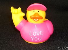 """Rubber Duck VALENTINE'S DAY I Love You Hand Pink Romantic Sign Language NEW 2"""","""