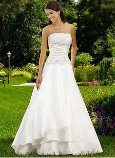 A-Line/Princess Strapless Chapel Train Taffeta Wedding Dress With Ruffle Beading