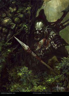 Artist: Bayard Wu aka bayardwu - Title: jungle hunter - Card: Thicket Assassin