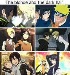 Owari no seraph Yuu & Mika, Naruto & Sasuke, Shingeki no kyojin Armin & Eren, Durarara Izaya & Shizuo, Noragami Yukine & Yato, Servamp Licht & Lawless