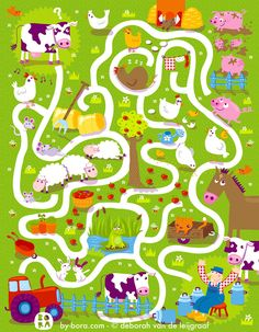 Farm Maze by Bora Farm Activities, Preschool Worksheets, Writing Activities, Farm Animal Crafts, Farm Animals, Mazes For Kids, Crafts For Kids, Farm Unit, Farm Theme