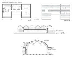 Floor plan, roof plan, elevation and constructional section of the Kimbell Museum Louis I. Kahn