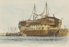 Prison ship in Portsmouth harbour. Prisoners going aboard. c. 1829. Creator Wiliam Edward Cooke