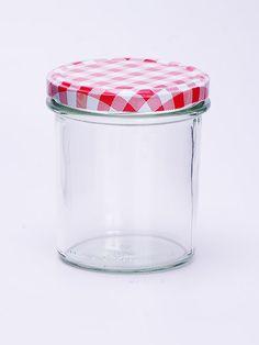 Sturzglas 350ml mit rot-kariertem Deckel 82mm Das ideale Glas für Marmelade und Gelee Höhe: 97,5mm; Durchmesser: 77,4mm Sterilisationsfester Deckel bis 120 Grad Deckel nicht für ölhaltige Füllgüter geeignet Qualitätsglas aus Deutschland