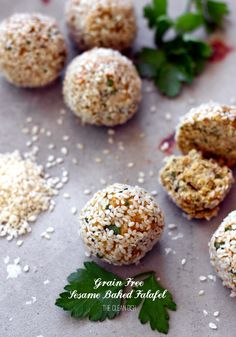 Grain Free Sesame Baked Falafel {gluten free, dairy free} | The Clean Dish.  |  thecleandish.com