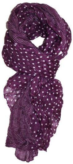 Amazon.com: LibbySue-Border Print Polka-Dot Crinkle Scarf in a Choice of Colors, Plum Purple: Clothing