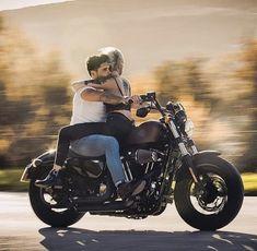 Motorcycle Couple Pictures, Bike Couple, Female Motorcycle Riders, Bobber Motorcycle, Motorcycle Quotes, Harley Davidson Quotes, Harley Davidson Sportster, Biker Chick, Biker Girl