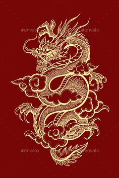 Buy Traditional Chinese Dragon Illustration by on GraphicRiver. Illustration of Traditional Golden Chinese Dragon. Dragon Tattoo For Women, Japanese Dragon Tattoos, Dragon Tattoo Designs, Chinese Tattoos, Red Dragon Tattoo, Dragon Tattoo Drawing, Asian Tattoos, How To Draw Dragon Tattoo, Dragon Drawings