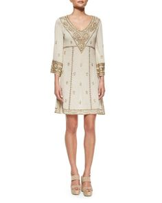 Embroidered 3/4-Sleeve V-Neck Dress, Cream by Alice + Olivia at Bergdorf Goodman.