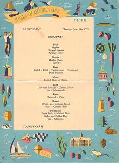 1953 Cruise Ship Menu  Breakfast  Great Graphics by SeagullIsland, $ 3.50