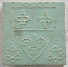 Wheatley Tile Fleur de Lis Art Pottery Sheild Coat of Arms  Arts & Crafts Era .
