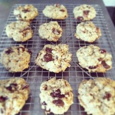 kitchen sink cookies: chewy oatmeal cookies with dark chocolate, craisins and pecans