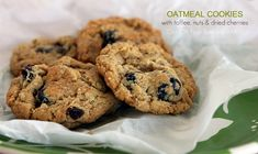 oatmeal cookies made with toffee, nuts and dried cherries.