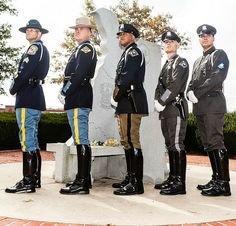 Boots with uniform.