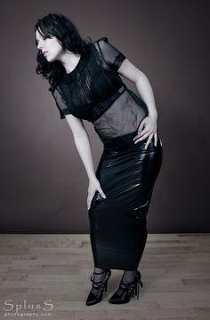 deviantART: More Like Pleather Hobble Skirt - Back by *BlackRoomPhoto