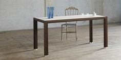 "Full-wood dark smoked oak table from alvari with linoleum plate ""cino"""