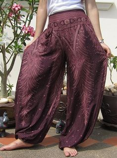 Funky Harem Wide Leg Yoga Pants Trousers Beach Dance Boho Bohemian Hippie Purple $24.99 via thailandcraftstore