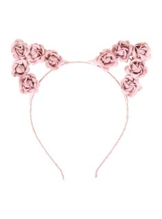 LOVEsick Pink Rose Cat Ears Headband from Hot Topic. Shop more products from Hot Topic on Wanelo. Rose Headband, Cat Ears Headband, Pink Headbands, Head Wrap Headband, Catty Noir, Rose Hair, Pink Cat, Little Doll, Headband Hairstyles
