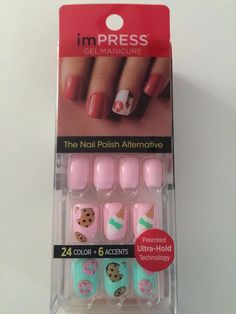 Kiss Impress Press-on Manicure Girl in Mirror 30 GEL Nails Accent Cookie Donuts for sale online Best Press On Nails, Impress Nails Press On, Fake Nails For Kids, Kiss Nails, Modern Nails, Bridal Nails, Nail Polish Designs, Glue On Nails, Accent Nails