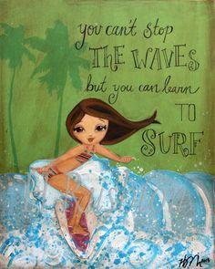 Surfer Girl Art Surf Decor Beach DecorQuote about by HRushtonArt, $14.00