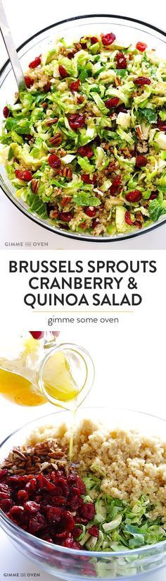 Brussels Sprouts, Cranberry & Quinoa Salad -- healthy, easy to make, and SO tasty!