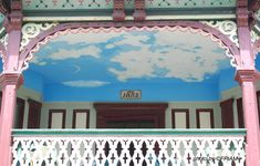 Isn't this a great idea to paint a porch ceiling blue with clouds? Dreamy! See at http://www.front-porch-ideas-and-more.com/victorian-porches.html